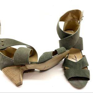 UO Deena & Ozzy Strappy Modern Heels Green Sz 8